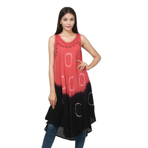 Embroidered Tie-Dye Round Neck Umbrella Dress (One Size; L-121cm x W-111cm) - Red and Black