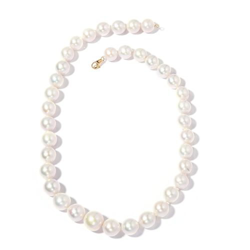 Collectors Edition-Extremely Rare ILIANA 18K Yellow Gold AAAA Fresh Water Pearl (Rnd 11-13 mm) Necklace (Size 20)
