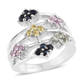 WEBEX- Rainbow Sapphire (Rnd) Floral Ring in Platinum Overlay Sterling Silver 1.000 Ct, Silver wt. 5