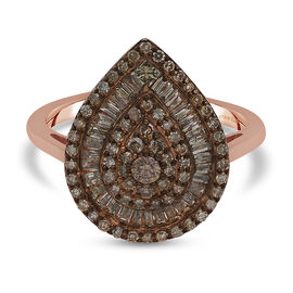 Natural Champagne Diamond Ring in Rose Gold Overlay Sterling Silver 1.04 Ct