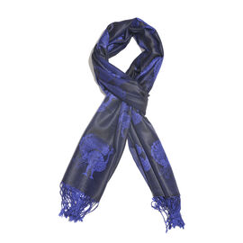 SILK MARK - 100% Superfine Silk Navy, Blue and Purple Colour Peacock Pattern Jacquard Jamawar Scarf