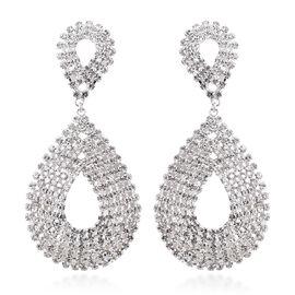 White Austrian Crystal Drop Earrings in Silver Tone
