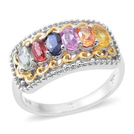 Rainbow Sapphire (Ovl) Ring in Rhodium and Yellow Gold Overlay Sterling Silver 1.750 Ct.