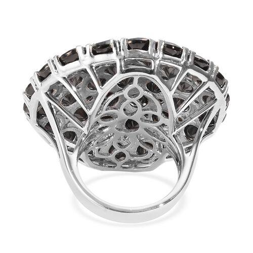 Elite Shungite (Rnd), Boi Ploi Black Spinel Cluster Ring in Platinum Overlay Sterling Silver 12.75 Ct.