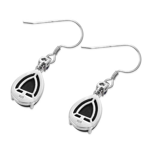 Shungite (Pear), Iolite Hook Earrings in Platinum Overlay Sterling Silver 8.750 Ct.