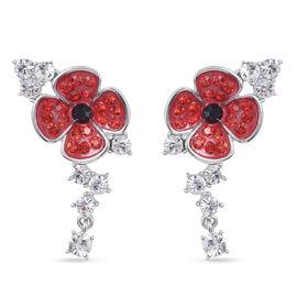 TJC Poppy Design - Multi Austrian Crystal Enamelled  Poppy Earrings with Push Back in Silver Tone