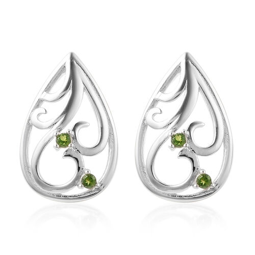 LucyQ Victorian Era Collection - Russian Diopside Stud Earrings (with Push Back) in Rhodium Overlay