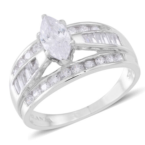 ELANZA Simulated Diamond (Mrq) Ring in Rhodium Plated Sterling Silver, Silver wt 6.02 Gms.