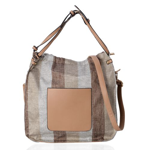 Scarlett Water Resistant Autumn Tan and Grey Stripe Tote Bag with Removable Shoulder Strap (Size 34.5x34x12 Cm)