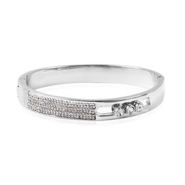 White Austrian Crystal (Rnd) Hinged Bangle (Size 6.75) in Silver Tone