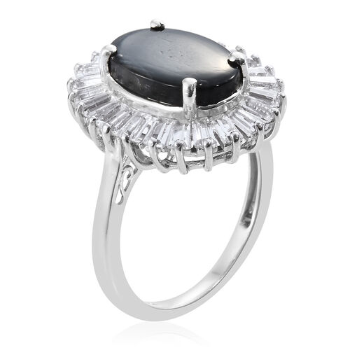 Natural Spectrolite (Ovl 3.40 Ct), White Topaz Ring in Platinum Overlay Sterling Silver 5.500 Ct.