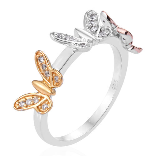 Natural Cambodian Zircon (Rnd) Butterfly Ring in Platinum, Rose and Yellow Gold Overlay Sterling Silver 0.250 Ct.
