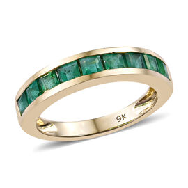9K Yellow Gold AA Brazilian Emerald (Sqr) Half Eternity Band Ring (Size S) 1.25 Ct.