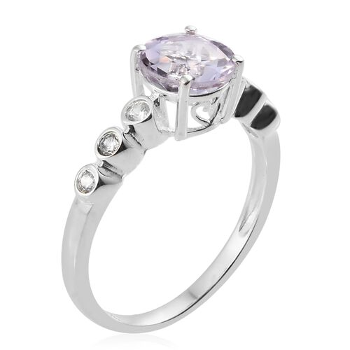 Rose De France Amethyst (Rnd 1.60 Ct), Natural Cambodian Zircon Ring in Sterling Silver 2.000 Ct.