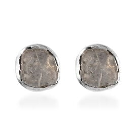 Polki Diamond Stud Earrings (with Push Back) in Platinum Overlay Sterling Silver