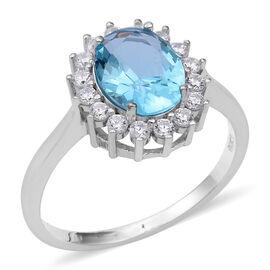 ELANZA Simulated Aquamarine (Ovl), Simulated Diamond Ring in Rhodium Overlay Sterling Silver, Silver