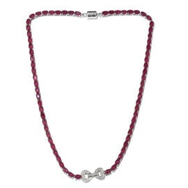 Signature Collection-AAA African Ruby (Ovl),Natural Cambodian Zircon Necklace (Size 18) in Platinum Overlay Sterling Silver with Magnetic Clasp  50.00 Ct, Silver wt 21.61