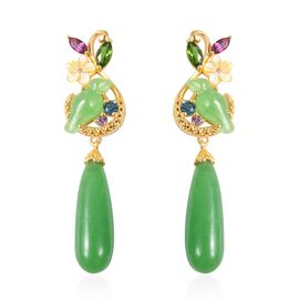 34.21 Ct Green Jade and Multi Gemstone Dangle Earrings in Gold Plated Silver