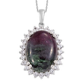 Ruby Zoisite (Ovl 20x15 mm), Natural Cambodian Zircon Pendant With Chain (Size 20) in Platinum Overl