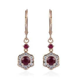 9K Yellow Gold AA African Ruby and Natural Cambodian Zircon Floral Lever Back Earrings 1.85 Ct.