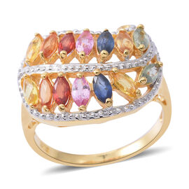 Rainbow Sapphire (Mrq) Ring in 14K Gold Overlay Sterling Silver 2.150 Ct. Silver wt 5.40 Gms.
