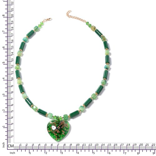 Murano Style Glass (Hrt), Ceramic, Green Agate, Simulated Emerald, White Austrian Crystal and Multi Colour Beads Necklace (Size 26 with 2.50 inch Extender) in Gold Plated