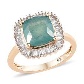 Super Auction- Extremely Rare- 9K Yellow Gold AAA Grandidierite (Cushion 8x8mm) and Diamond Ring 3.0