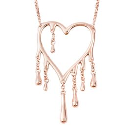 LucyQ Drip Heart Necklace (Size 18) in Rose Gold Overlay Sterling Silver, Silver wt 8.73 Gms
