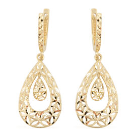 JCK Vegas Diamond Cut Drop Earrings in 9K Gold 2.49 grams