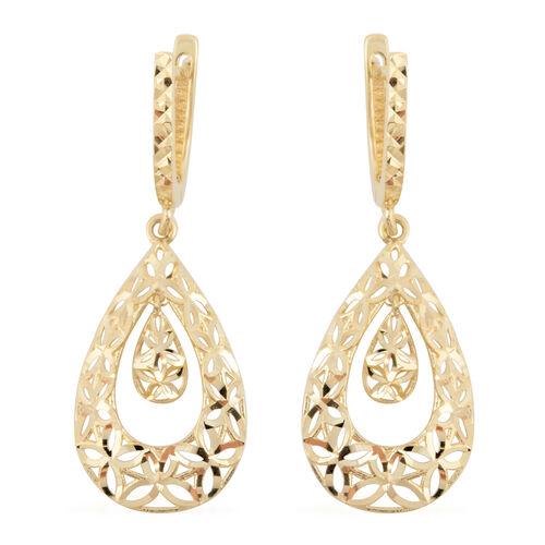 JCK Vegas Diamond Cut Drop Earrings in 9K Gold 2.49 grams