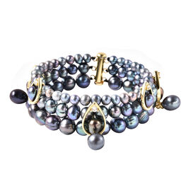 LucyQ Freshwater Peacock Pearl, Natural Cambodian Zircon Three Layer Bracelet (Size 7.5) in Yellow G