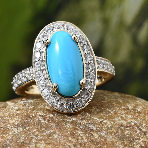 9K Yellow Gold AAA  Arizona Sleeping Beauty Turquoise (Ovl), Natural White Cambodian Zircon Ring  3.500 Ct