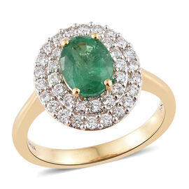 ILIANA AAA Kagem Zambian Emerald (1.00 Ct) and Diamond (SI/G-H) 18K Y Gold Ring 1.500 Ct, Gold wt 5.00 Gms