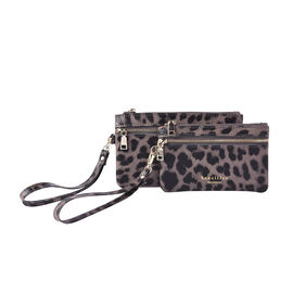 Set of 2 - 100% Genuine Leather Coffee and Black Leopard Pattern RFID Clutch Wallet (18x10cm, 15x9cm
