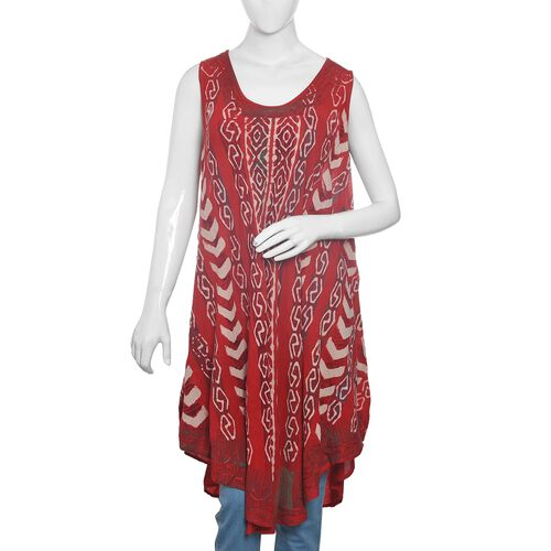 Red, Beige and White Colour Printed Apparel (Free Size)