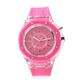 STRADA Japanese Movement Water Resistance Watch with Fuchsia Colour Silicone Strap