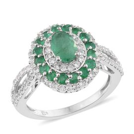 2.25 Ct Kagem Zambian Emerald and Natural Cambodian Zircon Halo Ring in Platinum Plated Silver