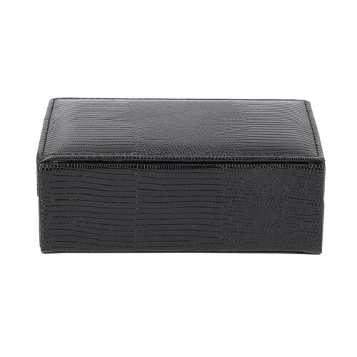 Grace Collection - Lizard Skin Pattern Rectangular Shaped  Anti-Tarnish Jewellery Box with Inside Mirror, Ring Rows & 2 Sections (Size 16x10x6cm) - Black