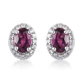 9K White Gold Rhodolite Garnet (Ovl), Natural Cambodian Zircon Stud Earrings (with Push Back) 1.33 C