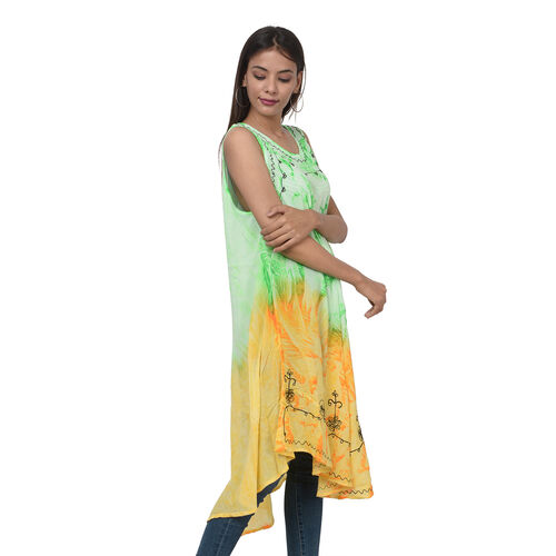 Summer Special- Embroided Tie-Dye Round Neck Umbrella Dress (One Size; L-121cm x W-111cm) - Green and Yellow