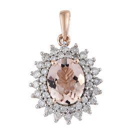 9K Rose Gold AAA Marropino Morganite (Ovl 2.25 Ct), Diamond Pendant 3.000 Ct.