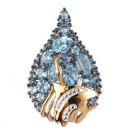 GP Swiss Blue Topaz and Blue Sapphire Cluster Pendant in Platinum and Yellow Gold Overlay Sterling S