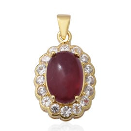 African Ruby and Natural Cambodian Zircon Pendant in Yellow Gold Overlay Sterling Silver 14.51 Ct, S