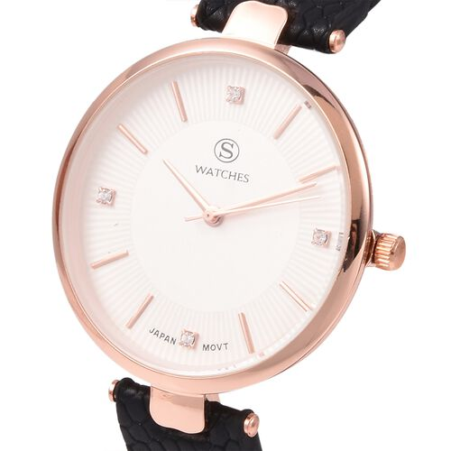 STRADA Japanese Movement Water Resistant White Austrian Crystal Studded Watch with Black Strap