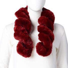 Wine Colour Faux Fur Twist Design Scarf (Size 75x12 Cm)