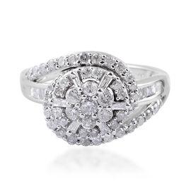 1 Carat Diamond Cluster Ring (Size N) in 9K White Gold 4.50 Grams