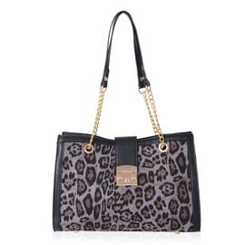 One Time Deal- Light Grey Colour Leopard Pattern Tote Bag (Size 34.5x23x11 Cm)