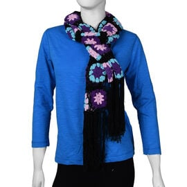 Limited Collection La Marey 100% Cotton Hand Crochet Sky Blue, Black and Multi Colour Floral Scarf (