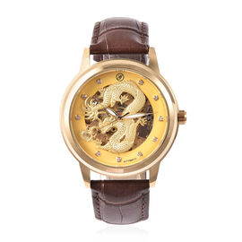 GENOA Automatic Movement White Austrian Crystal Studded Golden Dial Water Resistant Dragon Skeleton