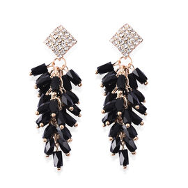 Simulated Black Spinel, White Austrian Crystal Dangling Earrings (with Push Back) in Gold Tone